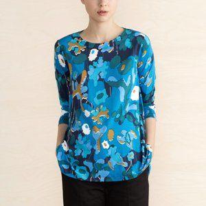 Marimekko Kolette Printed Top Blue Floral XS